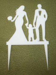 Akrylová dekorácia mladomanželia so synom  - biela