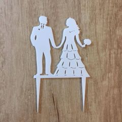 Akrylová dekorácia Ženích a nevesta dívajúci sa na seba - biela