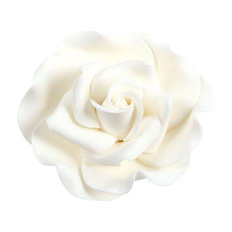 Cukrová dekorácia ruža - biela 6cm