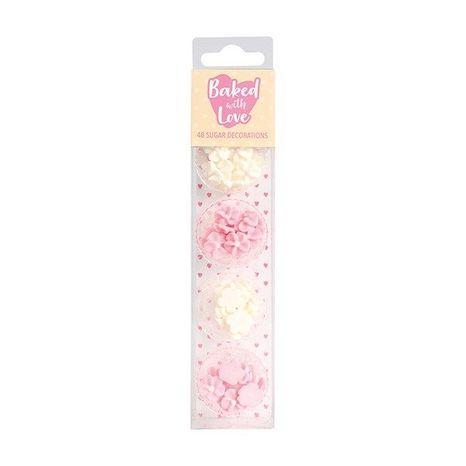 Cukrové ozdoby - mini kvietky biela/ružo vá 48ks