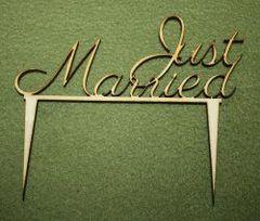 Drevená ozdoba na tortu - Just married