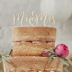 Drevená ozdoba na tortu - Mr & Mrs