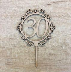 Drevený zápich - číslo 30 ornament