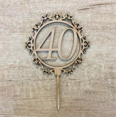 Drevený zápich - číslo 40 ornament