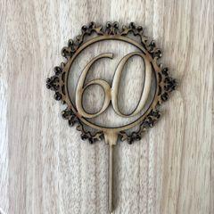 Drevený zápich - číslo 60 ornament