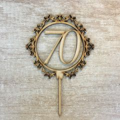 Drevený zápich - číslo 70 ornament