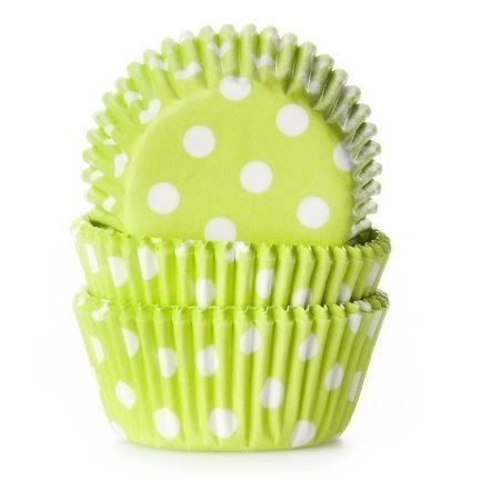 HoM košíčky na pečenie mini - bodkované limetkové zelené 60ks