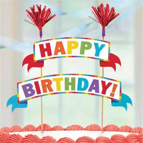 Ozdoba na tortu farebná - Happy Birthday
