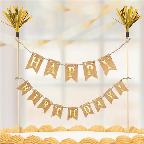 Ozdoba na tortu zlatá - Happy Birthday