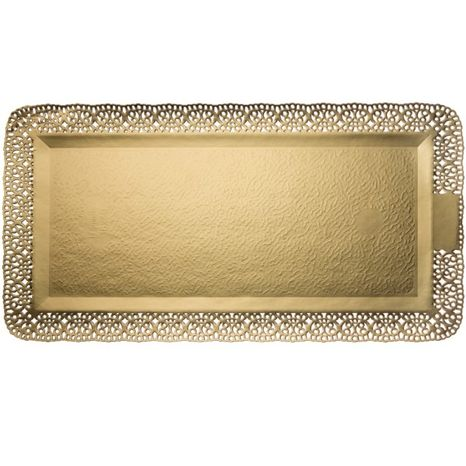 Podnos obdĺžníkový ozdobný zlatý 160x420mm