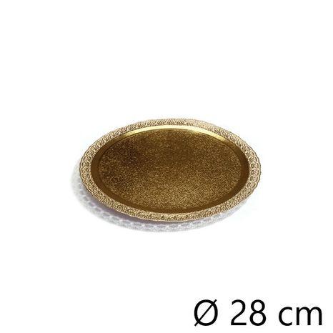 Podnos okrúhly ozdobný zlatý 280mm