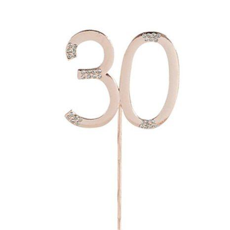 Štrasová ozdoba číslo - rose gold 30
