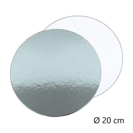 Tortový podnos okrúhly 200mm - tenký strieborný/biely
